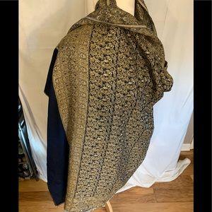 87x40 ornate Egyptian woven wool shawl.